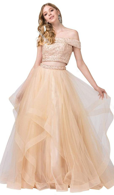 Dancing Queen 2545 Embroidered Off Shoulder Two-piece Gown