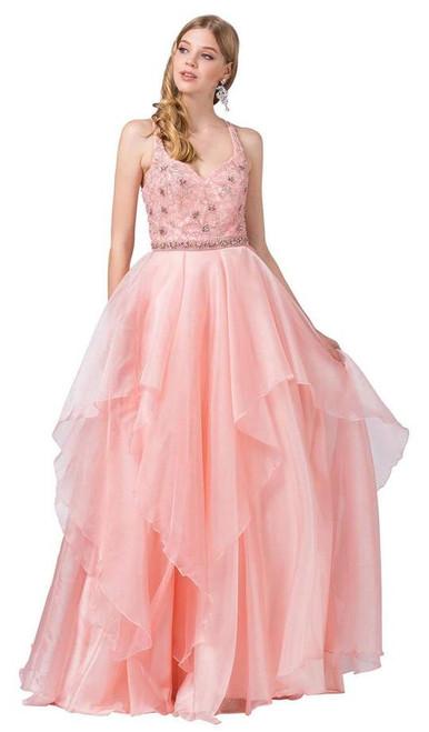 Dancing Queen 2524 Embellished Halter V-neck Ballgown
