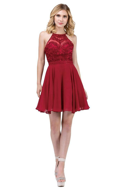 Dancing Queen 3008 High Halter Embroidered Lace Short Dress