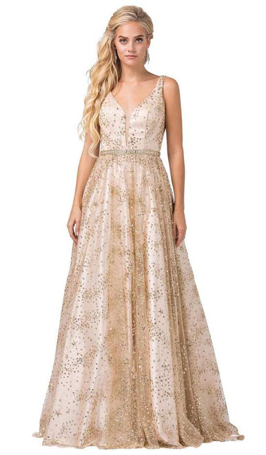 Dancing Queen 2650 Sleeveless Embellished Deep V-neck Gown
