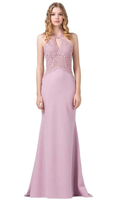 Dancing Queen 2787 Sleeveless Embroidered Halter Long Gown