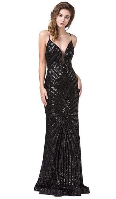 Dancing Queen 2528 Sleeveless Sequined Deep V-neck Dress