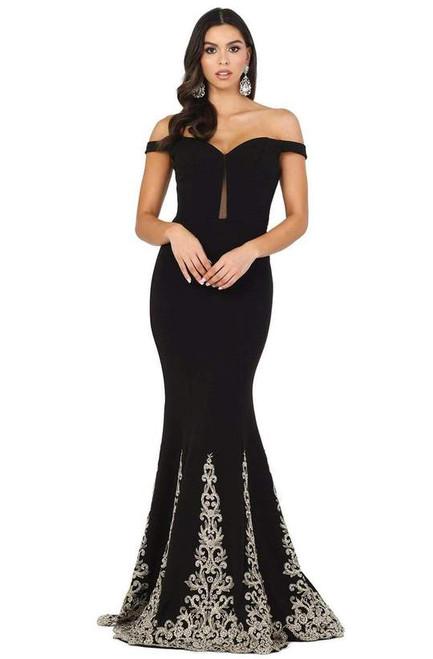 Dancing Queen 4003 Off Shoulder Applique-accented Long Gown