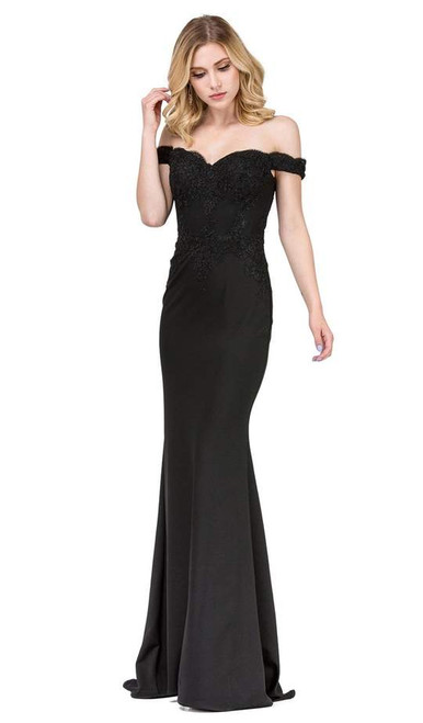Dancing Queen 2562 Lace Applique Off-shoulder Fitted Dress