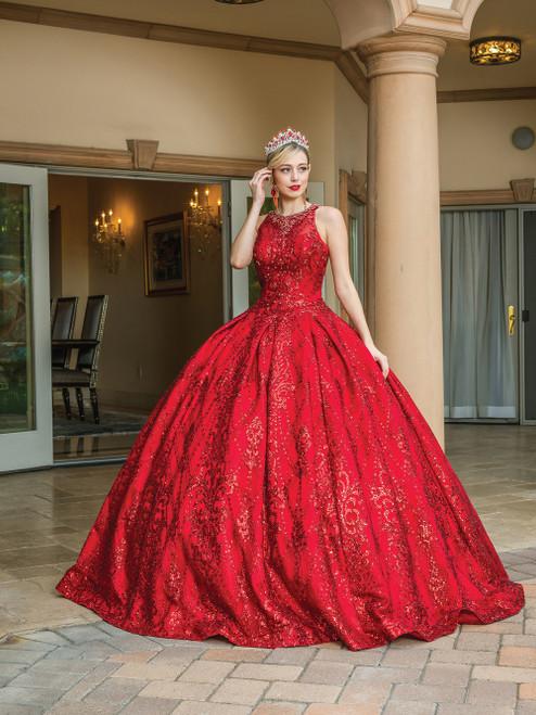 Dancing Queen 1647 Bedazzled Jewel Neck Sequined Long Dress