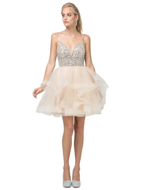 Dancing Queen 3050 Bejeweled V-neck Tiered A-line Dress
