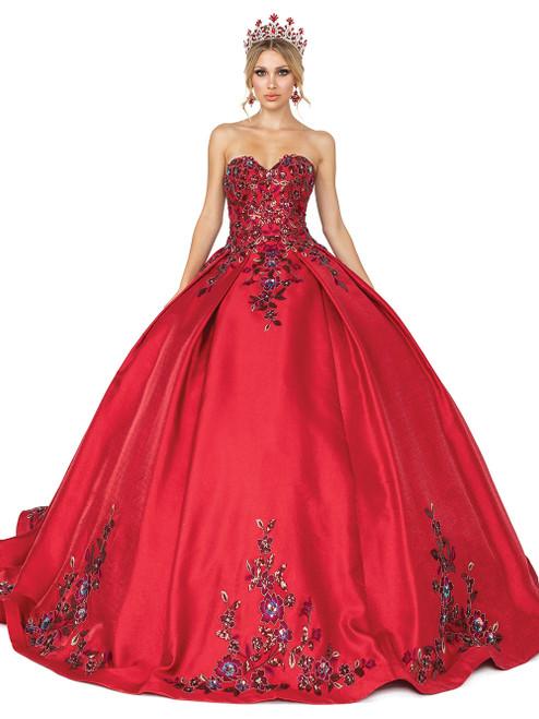 Dancing Queen 1578 Strapless Floral Detailed Long Ballgown