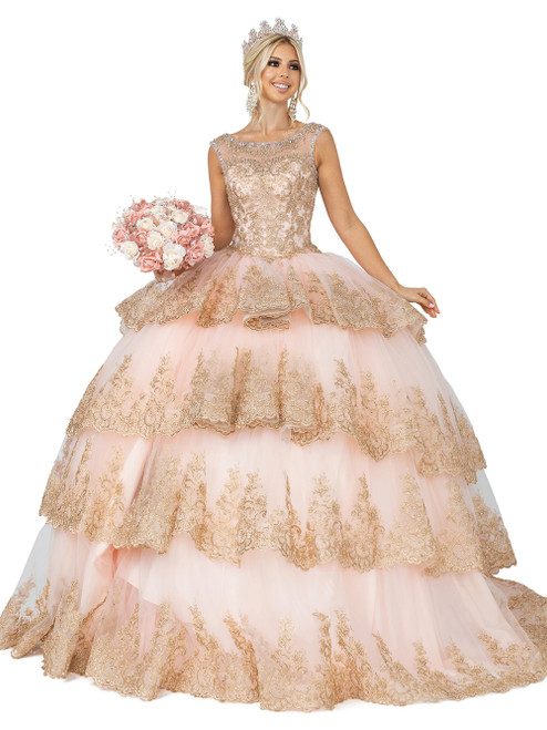 Dancing Queen 1565 Lace Appliqued Multi-tiered Ballgown