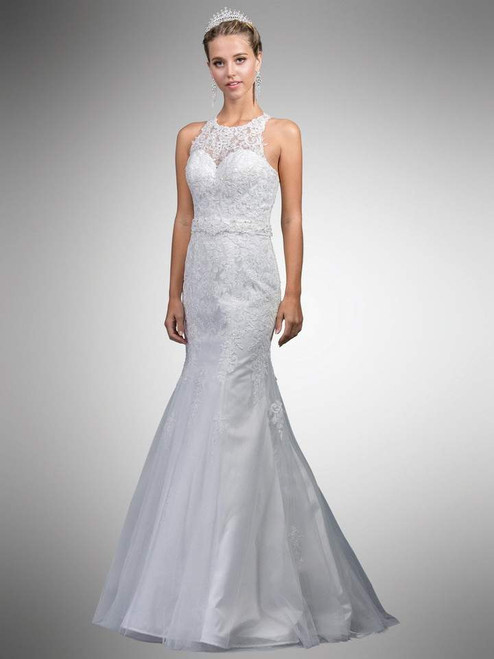 Dancing Queen A7003 Sleeveless Beaded Lace Illusion Gown
