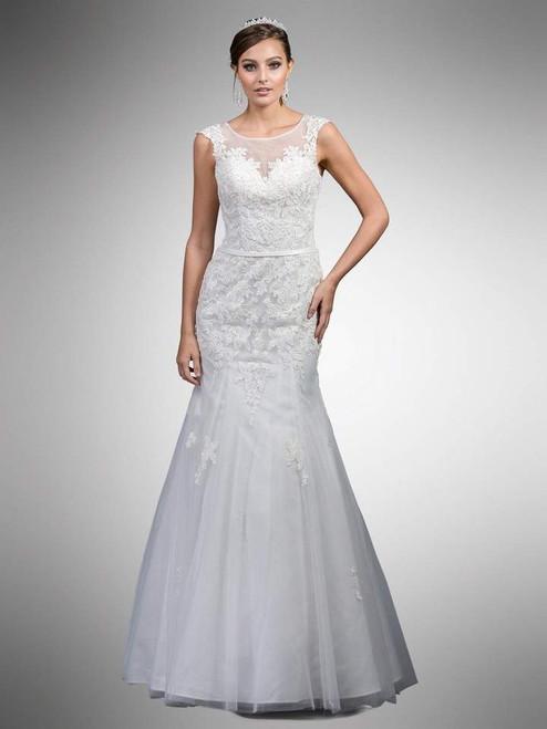 Dancing Queen A7000 Lace Applique Illusion Bateau Gown