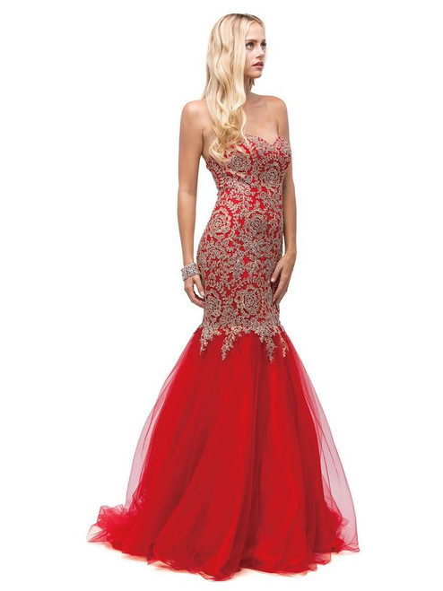 Dancing Queen 9932 Beaded Embroidered Sweetheart Long Gown