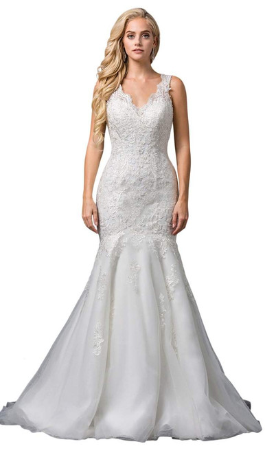 Dancing Queen 0086 Embroidered Plunging V-neck Trumpet Gown