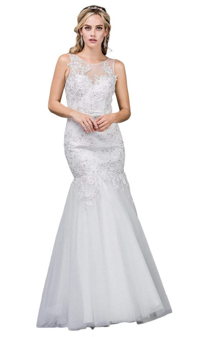 Dancing Queen 0076 Sleeveless Beaded Lace Trumpet Long Gown