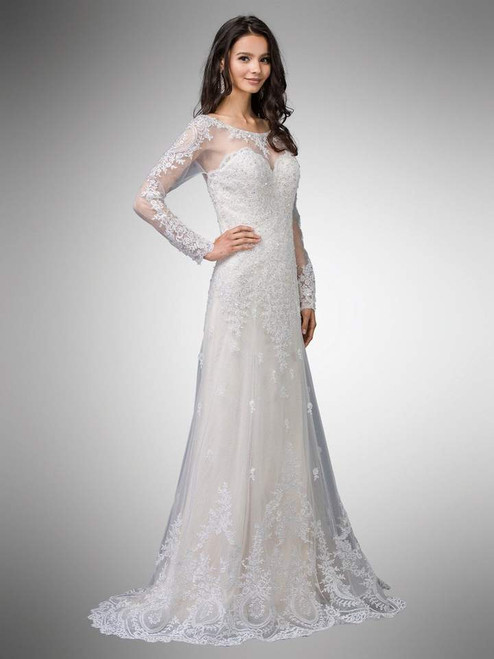 Dancing Queen 0009 Two-Tone Beaded Lace Illusion Long Gown
