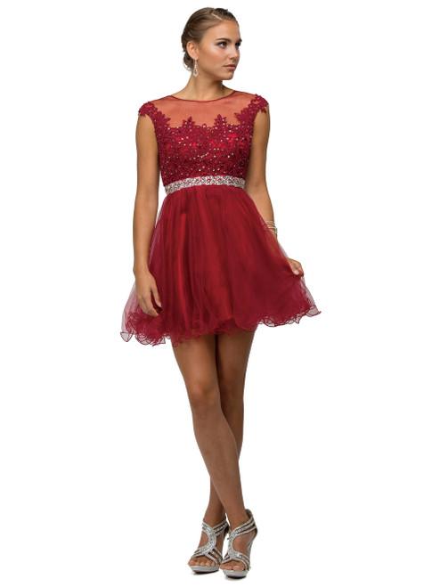 Dancing Queen 9489 Cap Sleeves Lace Applique Short Dress