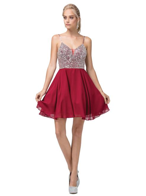 Dancing Queen 3226 Embellished Plunging V-neck Short Dress