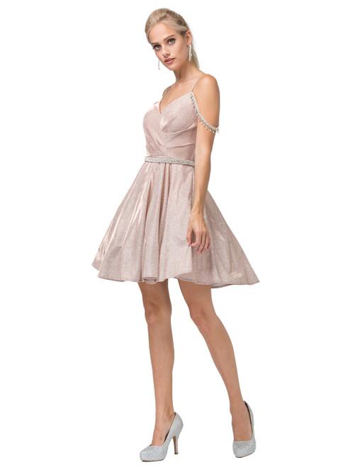 Dancing Queen 3173 Jewel Draped Metallic A-line Short Dress
