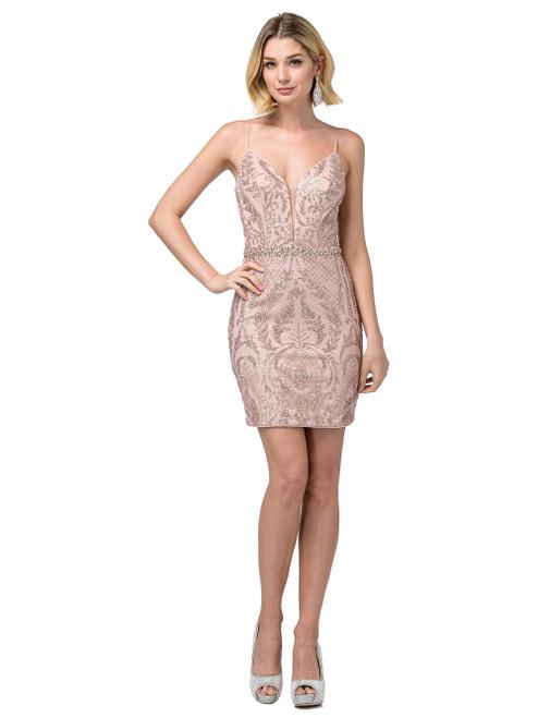 Dancing Queen 3161 Embellished Deep V-neck Fitted Dress