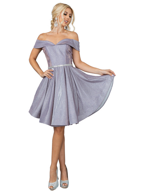 Dancing Queen 3147 Off-shoulder Embellished Short Dress