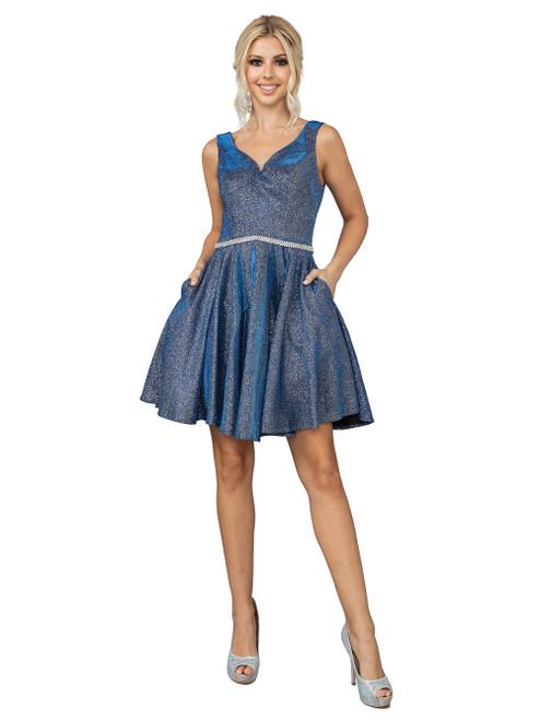 Dancing Queen 3142 Sleeveless V-neck Pleated Short Dress