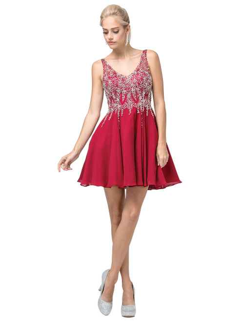 Dancing Queen 3129 Sleeveless Embellished V-neck Dress