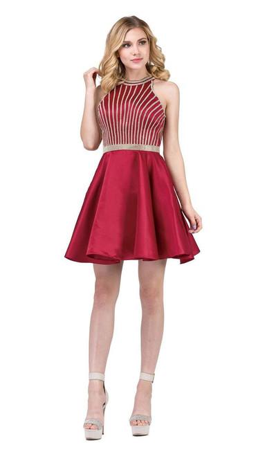 Dancing Queen 3041 Gold Beaded Halter Neck A-line Dress