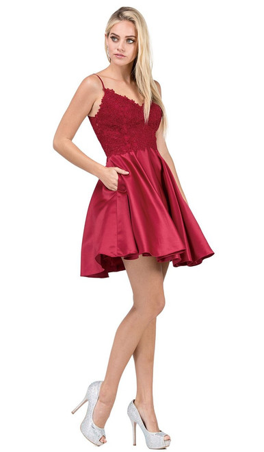 Dancing Queen 3037 Spaghetti Straps Lace Bodice Short Dress