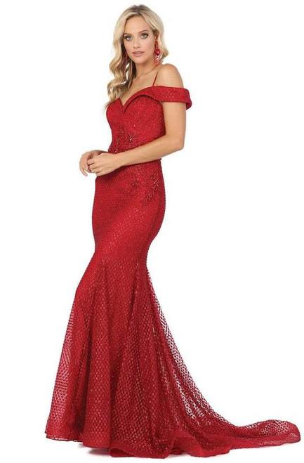 Dancing Queen 4043 Embroidered Off-shoulder Trumpet Dress