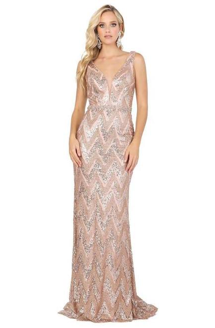 Dancing Queen 4036 Embellished Plunging V-neck Long Dress