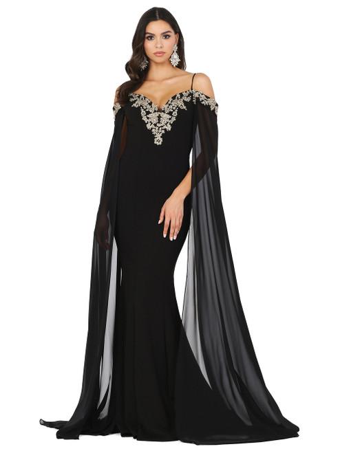 Dancing Queen 4025 Off Shoulder Sheer Cascade Sleeve Gown
