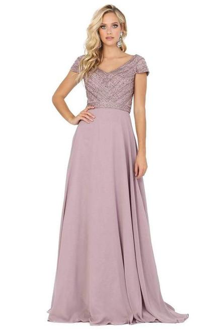 Dancing Queen 4015 Short Sleeve Beaded Bodice Chiffon Gown