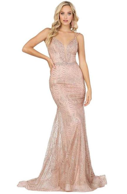 Dancing Queen 4007 Embellished Deep V-neck Trumpet Dress