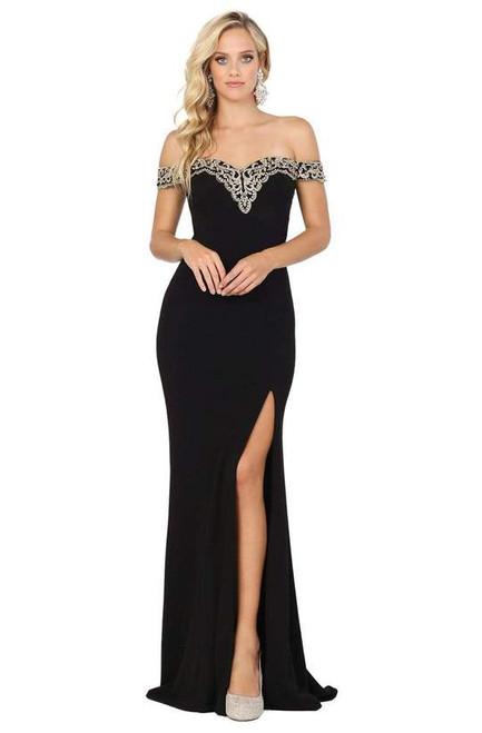 Dancing Queen 4004 Strapless Off Shoulder V Back High Dress