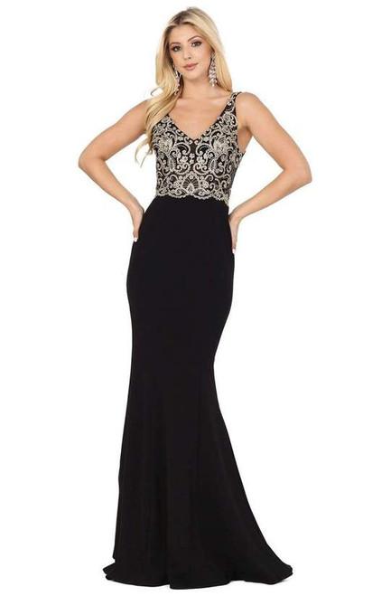 Dancing Queen 2912 Sleeveless V Neck Lace Applique Dress