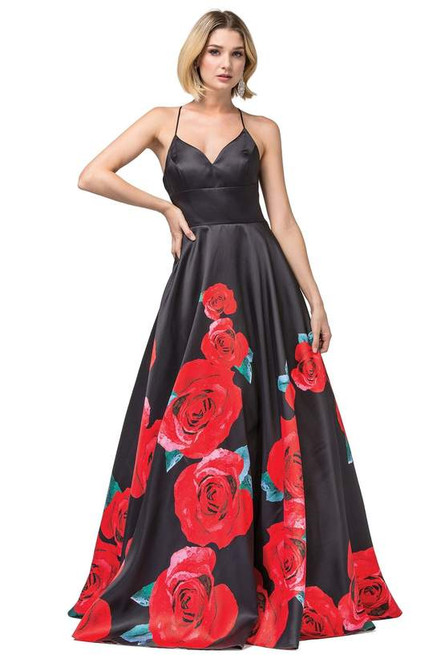 Dancing Queen 2843 Sleeveless Floral V-neck Pleated Gown