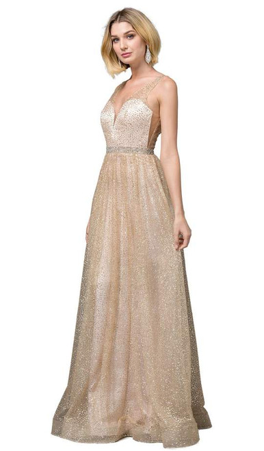 Dancing Queen 2834 Sleeveless Plunging V-neck A-line Gown