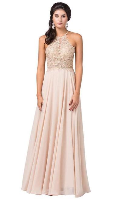 Dancing Queen 2716 Sleeveless Lace Applique Halter Dress