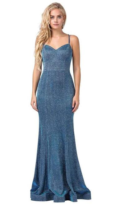 Dancing Queen 2698 Lace-up Back Metallic Jersey Long Gown