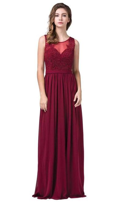 Dancing Queen 2677 Sleeveless Illusion Neckline Beaded Gown
