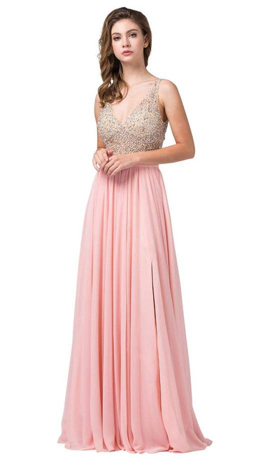 Dancing Queen 2569 Sleeveless Beaded Bodice Flowy Dress