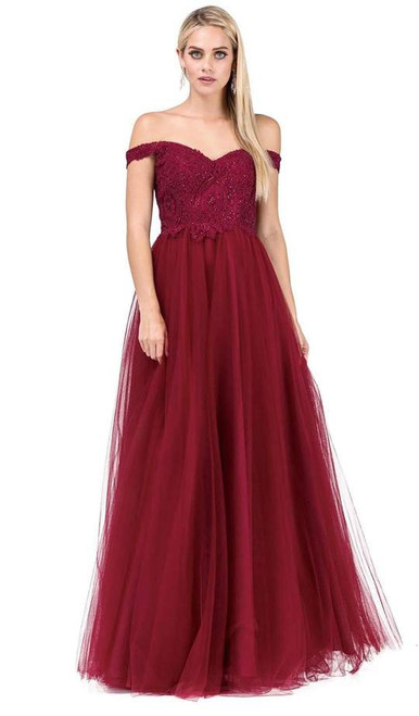 Dancing Queen 2538 Embroidered Off-shoulder A-line Gown