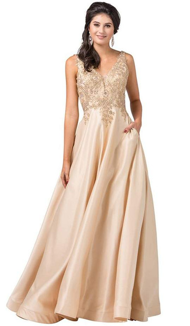 Dancing Queen 2533 Embellished Lace-Bodice Satin Long Gown
