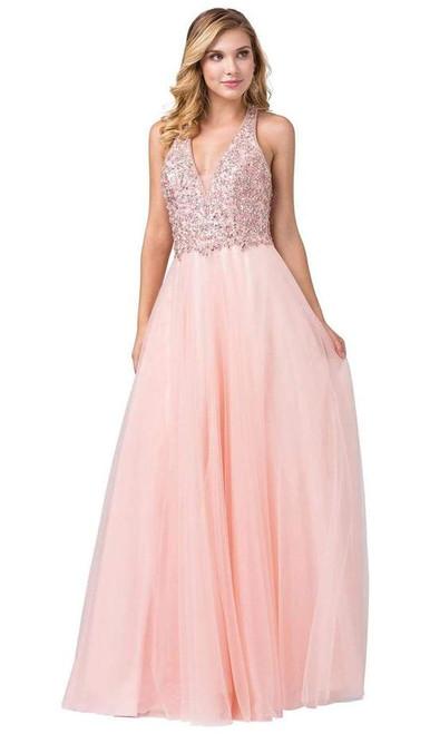 Dancing Queen 2532 Embellished Deep V-neck A-line Gown