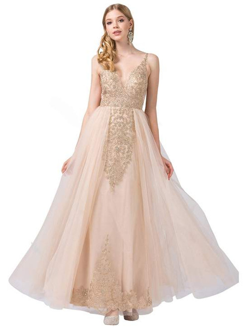Dancing Queen 2525 Sleeveless Gilt-appliqued Illusion Gown