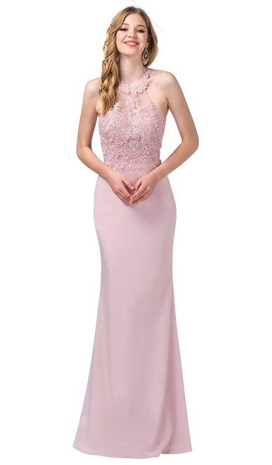 Dancing Queen 2499 Appliqued Illusion Back Paneled Gown