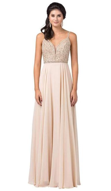 Dancing Queen 2493 Sleeveless Jewel Beaded Chiffon Gown