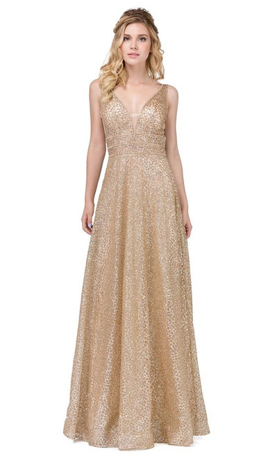 Dancing Queen 2488 V Neck Sleeveless Illusion Panel Gown