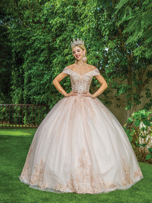 Dancing Queen 1567 Jeweled Off Shoulder Long Ballgown