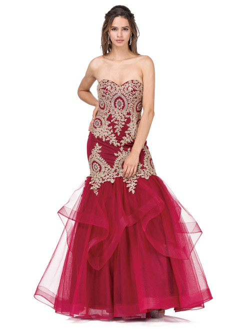 Dancing Queen 2449 Strapless Sweetheart Neck Trumpet Gown