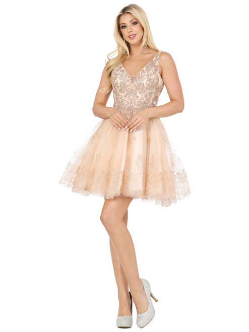 Dancing Queen 3237 Sleeveless V Neck Lace Applique Dress